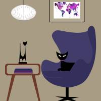 Purple Egg Chair Art Prints & Posters by Donna Mibus
