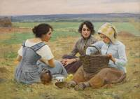Lunch Break In The Fields by Charles Sprague Pearc