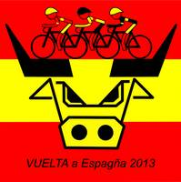 3 VUELTA a Espagna riders and the Spanish Bull