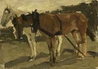 A Brown and a White Horse in Scheveningen, George