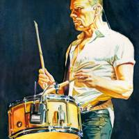 Larry Mullen Jr Drumming Art Prints & Posters by Kelly Eddington