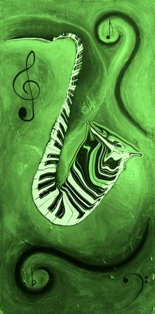 Piano Keys in a Saxophone Green Music In Motion