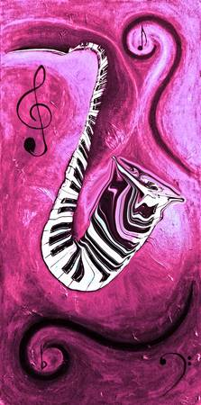 Piano Keys in a Saxophone Hot Pink In Motion