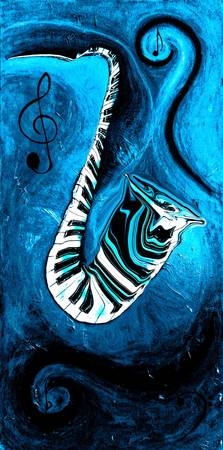Piano Keys in a Saxophone Blue 2 Music In Motion