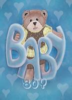 Baby Boy with Teddy Bear Blue Background