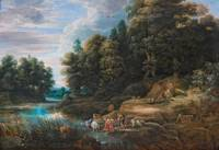Frans Wouters River Landscape With a Herder And a