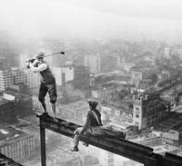 Golfer Teeing Off On Girder High Above The City 19