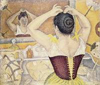 Woman at her toilette wearing a purple corset by P