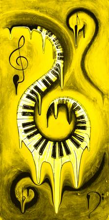 Hot Yellow - Swirling Piano Keys - Music In Motion