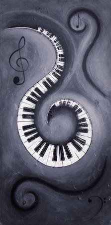 Black 2 - Swirling Piano Keys - Music In Motion
