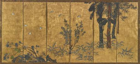 A JAPANESE GILT AND PAINTED SIX-PANEL SCREEN, 19TH