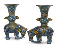 A pair of Chinese cloisonné enamel elephant-form v