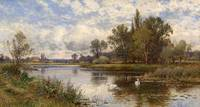 Alfred Augustus Glendening, River Scene with Swans