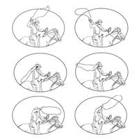 Cowboy Lasso Riding Horse Drawing Collection Set