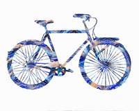 Romantic Blue Bicycle Ride Watercolor Silhouette