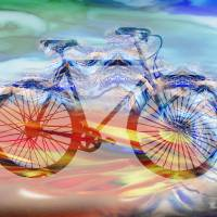 Speedy Bicycle Watercolor Silhouette Art Prints & Posters by Irina Sztukowski