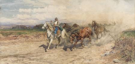 Enrico Coleman Roma 1846 - 1911 Butteri and horses