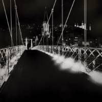 Footbridge To Old Lyon At Night Art Prints & Posters by George Oze