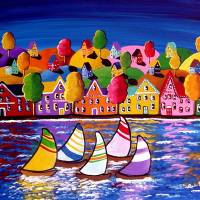 Colorful Shoreline Reflections Art Prints & Posters by Renie Britenbucher