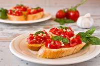 Italian bruschetta with tomato, basil and garlic o