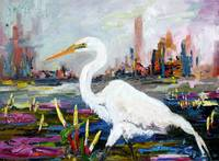 White Heron and City Skyline