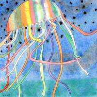 Rainbow Colored Jelly Fish