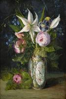 ANNA BILLING 1849-1927 Flower Still life with rose