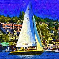 Sailboat On Lake Union Art Prints & Posters by Kirt Tisdale