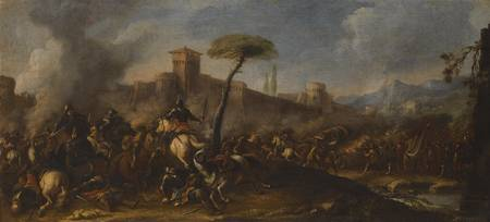 Jacques Courtois A Battle Scene Before a Fortified