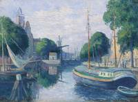 Maximilien Luce 1858 - 1941 BARGES ON CANAL TO ROT