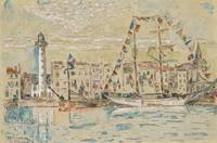 Paul Signac 1863 - 1935 LA ROCHELLE, decked BOATS