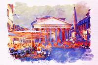 The Pantheon Rome Watercolor Streetscape