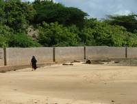 Muslim Woman Walking the Beach