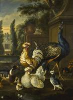 Pieter Casteels III WILDFOWL AND A PEACOCK IN A PA