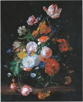 Rachel Ruysch, Flowers in a Glass Vase with a Tuli