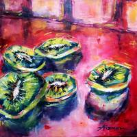 Fruit from the Shuk Series - Kiwi on Crimson