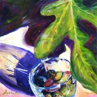 Fruit from the Shuk Series-Olives in Wine Glass