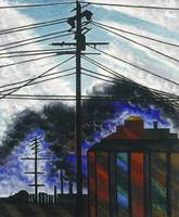 Telegraph Poles with Buildings by Joseph Stella