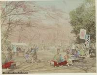 Ueno Park in Tokyo with people, flowering trees an