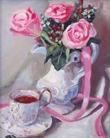 Pink Roses, Pink Ribbon and Tea