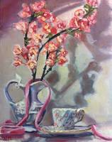 Pink Cherry Blossoms, Tea and Pink Ribbon