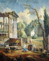 Hubert Robert (style of)  Lanscape with temple rui