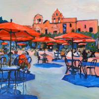 Plaza de Panama Balboa Park - Red Umbrellas Art Prints & Posters by RD Riccoboni