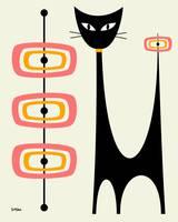 Atomic Cat with Pink and Gold Orbs on Cream