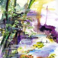 Modern Expressive Water Reflections Art Prints & Posters by Ginette Callaway