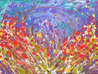 Poppies Abstract Meadow colorful painting on canva