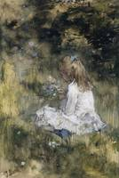 A Girl with Flowers on the Grass, Jacob Maris, 187