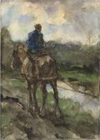 Hunter on horseback on the towpath, Jacob Maris, 1