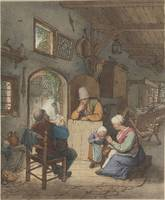 Newspaper reader in interior, Cornelis Truman, aft