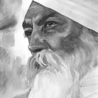 Yogi Bhajan Focused Watercolor - B&W Art Prints & Posters by SikhPhotos.com Gallery